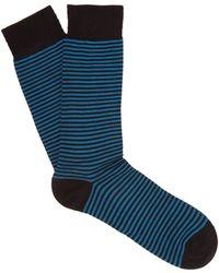 Pantherella - Farringdon Striped Cotton Blend Socks - Lyst