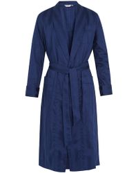 Derek Rose - Lingfield Cotton-striped Bathrobe - Lyst