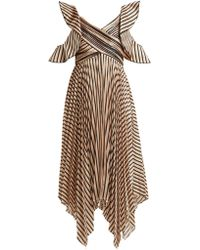 Self-Portrait - Striped Pleated Dress - Lyst