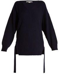 Stella McCartney - Curved V-neck Ribbed-knit Cashmere-blend Jumper - Lyst