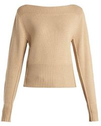 Chloé - - Boat Neck Cashmere Jumper - Womens - Light Brown - Lyst