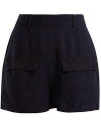 Falke - Gold Bermuda Linen And Silk-blend Shorts - Lyst