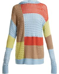 House of Holland - Patchwork Hooded Wool Blend Jumper - Lyst