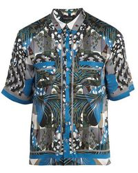 Meng - Geometric Print Short Sleeved Silk Pyjama Shirt - Lyst