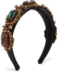 Dolce & Gabbana Crystal Embellished Embroidered Headband - Multicolour