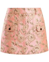 Prada | Floral-brocade Mini Skirt | Lyst