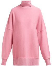 CALVIN KLEIN 205W39NYC - Oversized Roll Neck Cotton Sweatshirt - Lyst