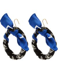 Balenciaga - Silk Twill Hoop Drop Earrings - Lyst