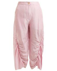 By Walid - Meril Pleated Raw-silk Cropped Trousers - Lyst