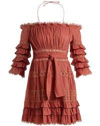 Zimmermann - Corsair Off-the-shoulder Ruffled Cotton Dress - Lyst