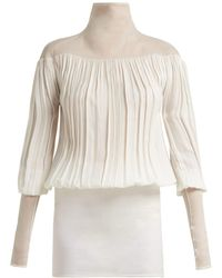 Jil Sander - Fois Gathered Twill And Crepe Blouse - Lyst