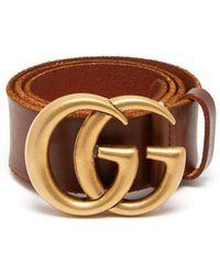 Gucci - Gg Logo 4cm Leather Belt - Lyst