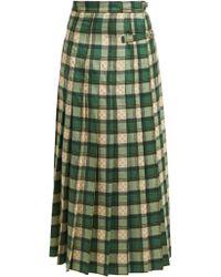 Gucci - Gg Tartan Wool Maxi Skirt - Lyst
