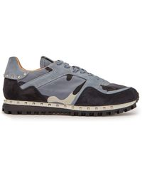 Valentino - Rockstud Embellished Camouflage Suede Trainers - Lyst