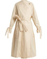 JW Anderson - Oversized High Neck Tie Waist Cotton Trench Coat - Lyst