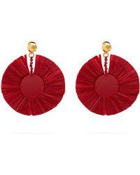 Oscar De La Renta Bead-embellished small raffia disc-drop earrings UuyiIw13K