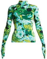 Richard Quinn - Floral Print Stretch Velvet Top - Lyst