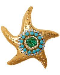 Sonia Boyajian Abigail Crystal Starfish Brooch - Blue