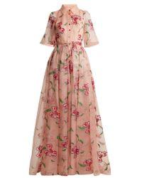 Carolina Herrera - Floral-embroidered Silk Gown - Lyst