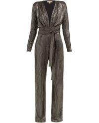 Melissa Odabash Look 4 Metallic Stripe Belted Jumpsuit