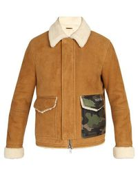 Valentino - Camouflage-pocket Shearling Coat - Lyst