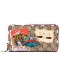 Gucci - Courrier Gg Supreme Zip-around Wallet - Lyst