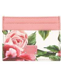 Dolce & Gabbana - Rose-print Leather Cardholder - Lyst