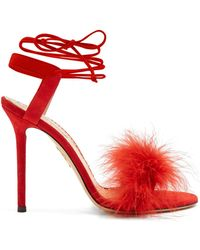 Charlotte Olympia - Salsa Feather Embellished Suede Sandals - Lyst