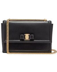 30ee37c4ab53 Lyst - Ferragamo Ginny Leather Shoulder Bag in Black