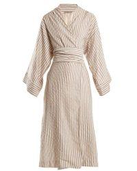 Three Graces London - Isabella Striped Cotton-blend Robe - Lyst