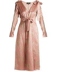 Rochas - Bow Shoulder Floral Jacquard Midi Dress - Lyst