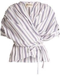 Awake | Gathered Striped Cotton Wraparound Top | Lyst
