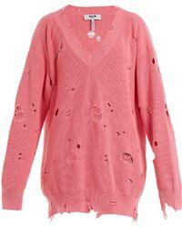 MSGM - Oversized Distressed-knit Jumper - Lyst