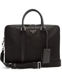 Prada - Leather-trimmed Double-zip Nylon Briefcase - Lyst
