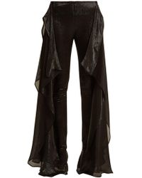 Paula Knorr - Relief High-rise Ruffled Silk-blend Lamé Trousers - Lyst