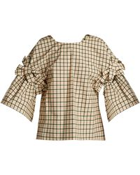 Fendi - Bow Embellished Check Top - Lyst