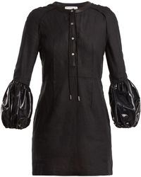 JW Anderson Robe courte en lin à manches bouffantes