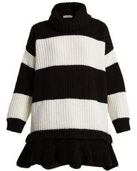 Valentino - - Striped Roll Neck Wool Jumper - Womens - Black White - Lyst