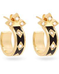 Azlee | Night Sky Diamond, Enamel & Yellow-gold Earrings | Lyst