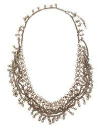 Saint Laurent - - Bead Embellished Chain Necklace - Womens - Silver - Lyst
