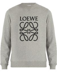 Loewe - Logo Embroidered Cotton Jersey Sweatshirt - Lyst