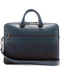 Bottega Veneta - Skyline-embroidered Intrecciato Leather Briefcase - Lyst