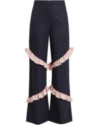 Huishan Zhang - Elisa High-rise Ruffle-trimmed Trousers - Lyst
