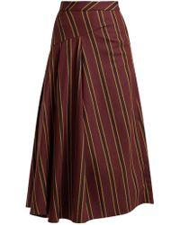Palmer//Harding - Striped Cotton Blend Twill Midi Skirt - Lyst