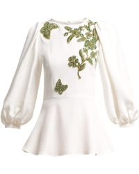 Andrew Gn - Embellished Balloon Sleeve Crepe Blouse - Lyst