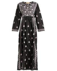 Muzungu Sisters - Floral-embroidered Silk Dress - Lyst