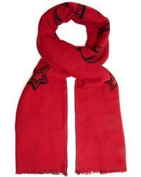 Gucci - Shark-embroidered Checked Scarf - Lyst
