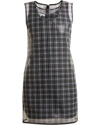 Helmut Lang - Round-neck Checked Semi-sheer Dress - Lyst