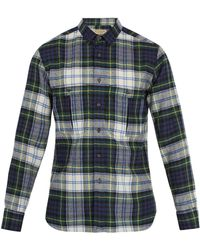 Burberry - Point-collar Checked Wool Shirt - Lyst