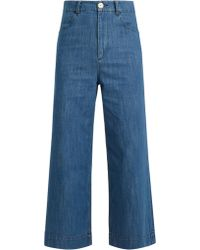 MASSCOB - High-rise Wide-leg Cropped Jeans - Lyst